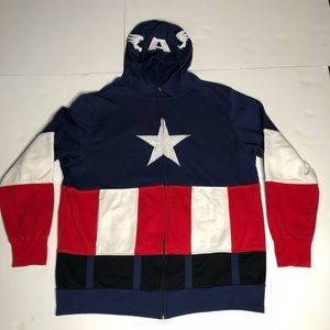 Captain America Hoodie LS Full Zip COSPLAY 2XL